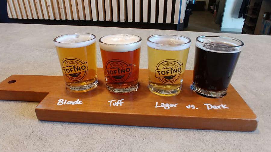 Beer sampler at Tofino Brewing Company.