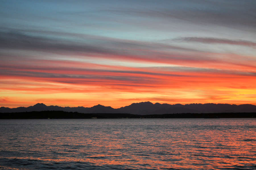 Sunset over the Olympic Mountains.