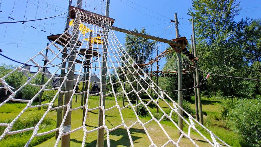 Ladder climb at Adventura Aerial Adventure Park in Woodinville, Washington.