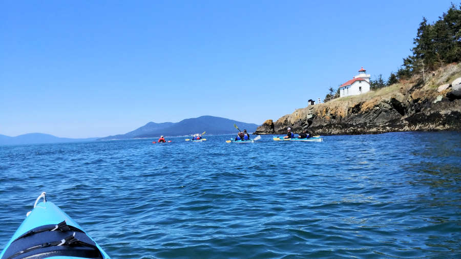Burrows Island Lighthouse on the Anacortes Kayak Tour.