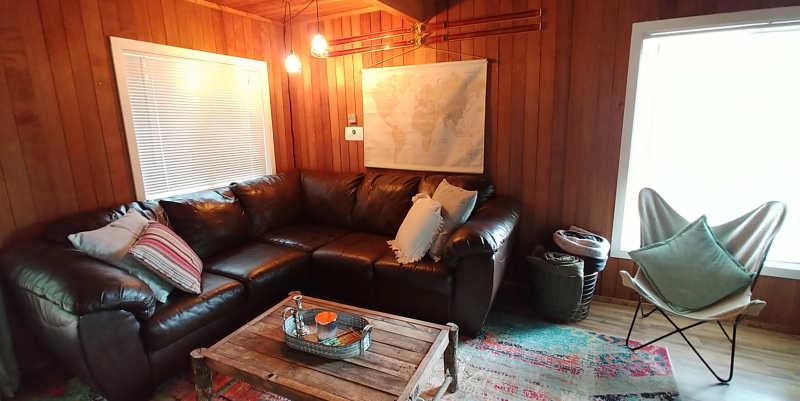 The living room at Millard's Cabin in Packwood, Washington.