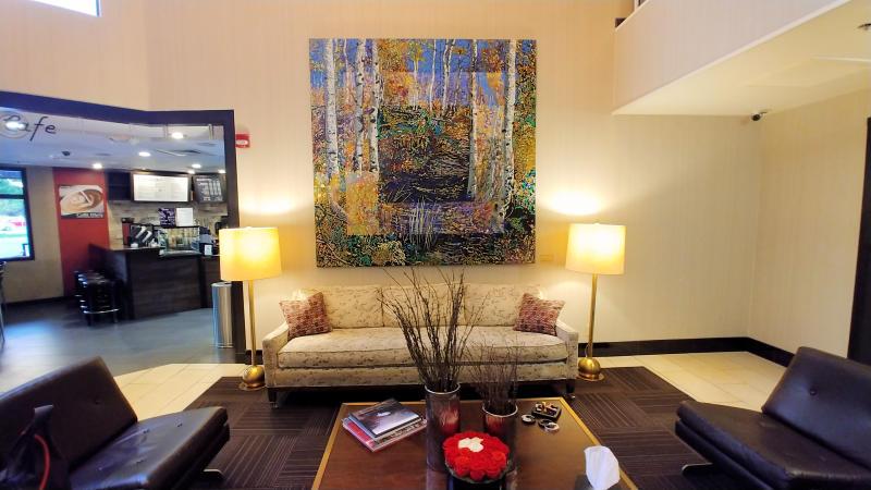 The lobby at Hotel 43 in Boise, Idaho.