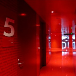 Hallways Outside Reading Rooms are Reds and Pinks