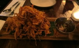 Grabong (squash fritters) with garlic tamarind dip with
