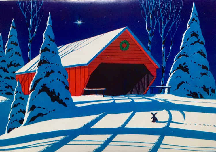 drawing of rabbit in snow in front of large barn with Christmas wreath
