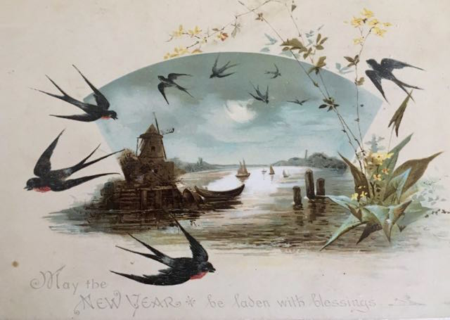 "vintage postcard - swallows and harbour ""May the New Year be laden with blessings'"