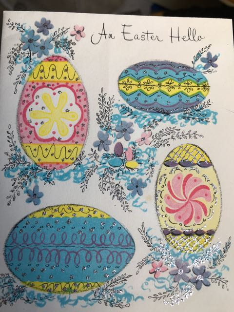 Easter card. 'An Easter Hello', 4 eggs decorated in blue, pink, yellow and silver