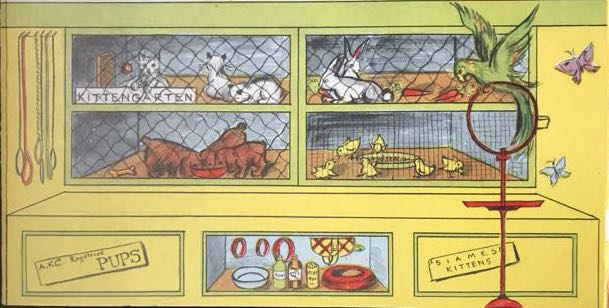 illustration of cages housing puppies, kittens, rabbits and chicks