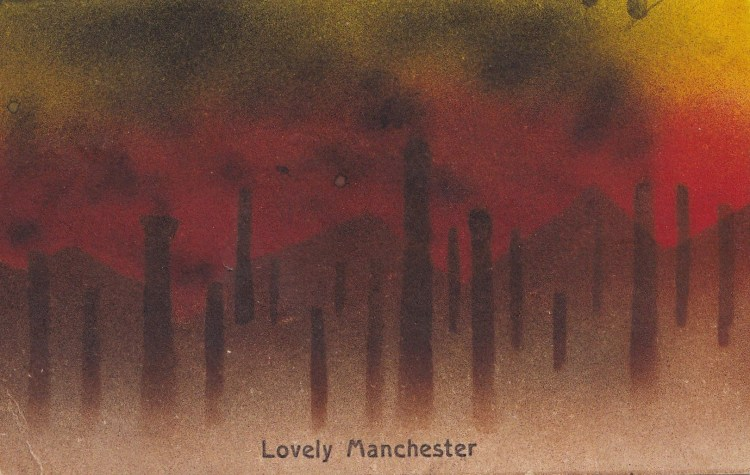 postcard showing smoking chimneys with text stating: Lovely Manchester
