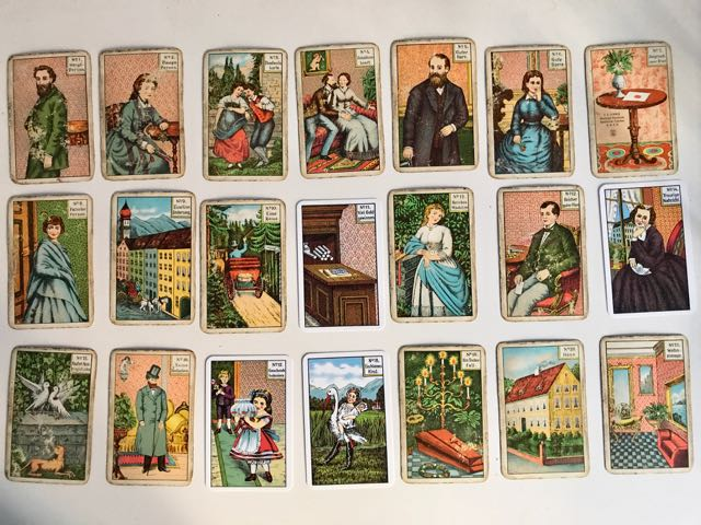 image of 21 Kipper cards (Divination cards) showing people in various situations or landscapes