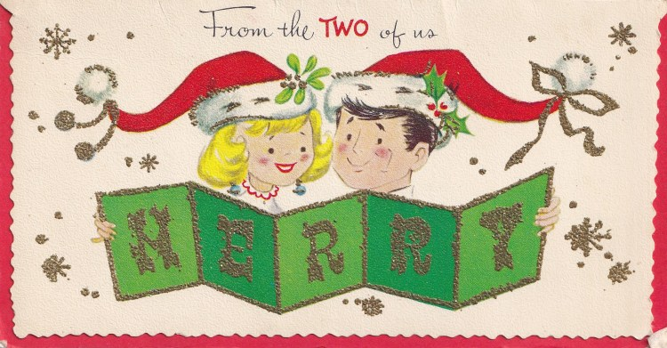 1950s Greeting card showing  a couple unfolding the word 'Merry' in gold glitter