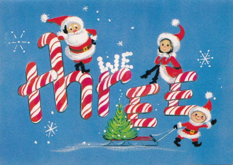 illustration of Family of 3 in Santa Claus costumes on number 3 spelt out in sugar canes on blue background. 1950s greeting card