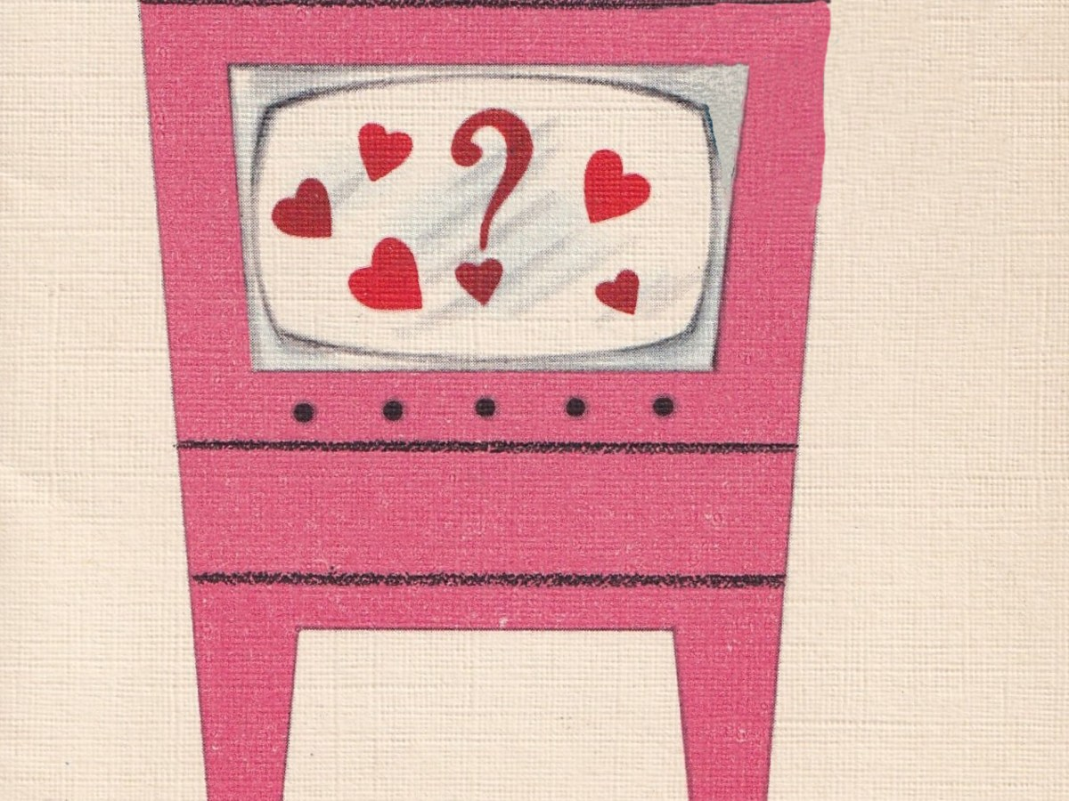 cartoon pink TV with hearts and question mark on screen