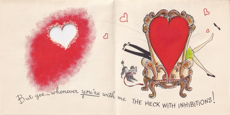 vintage valentine's card - armchair hiding couple - only legs of both a man and a woman are to be seen. A die-cut heart on the other side of the page.