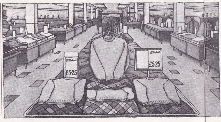 black and white drawing of inside of a Marks & Spencer shop - jumpers at £5.25 at front