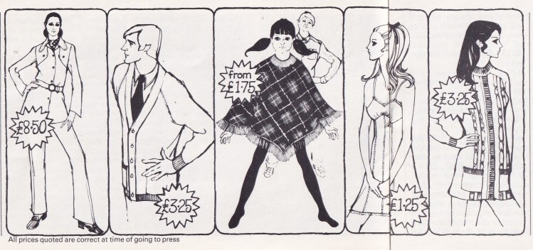 black and white drawings of 5 items of clothing on people: female trouser-suit, male cardigan, girl poncho, female undergown, female top
