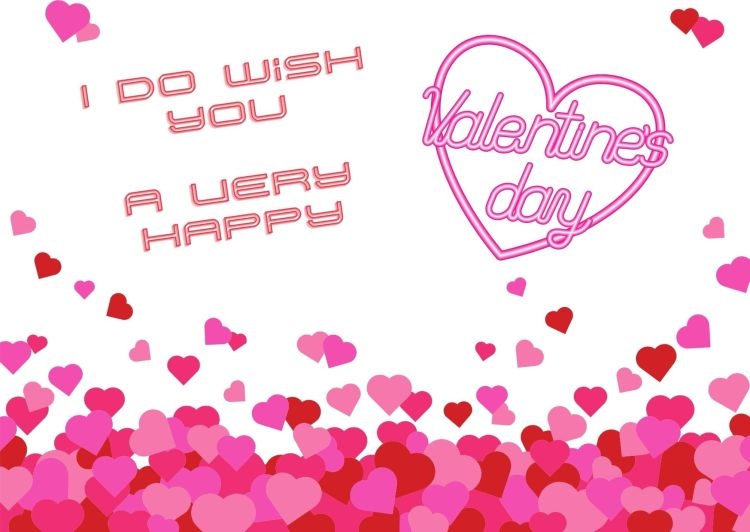 image of pink hearts and text saying I wish you a very happy Valentine's Day