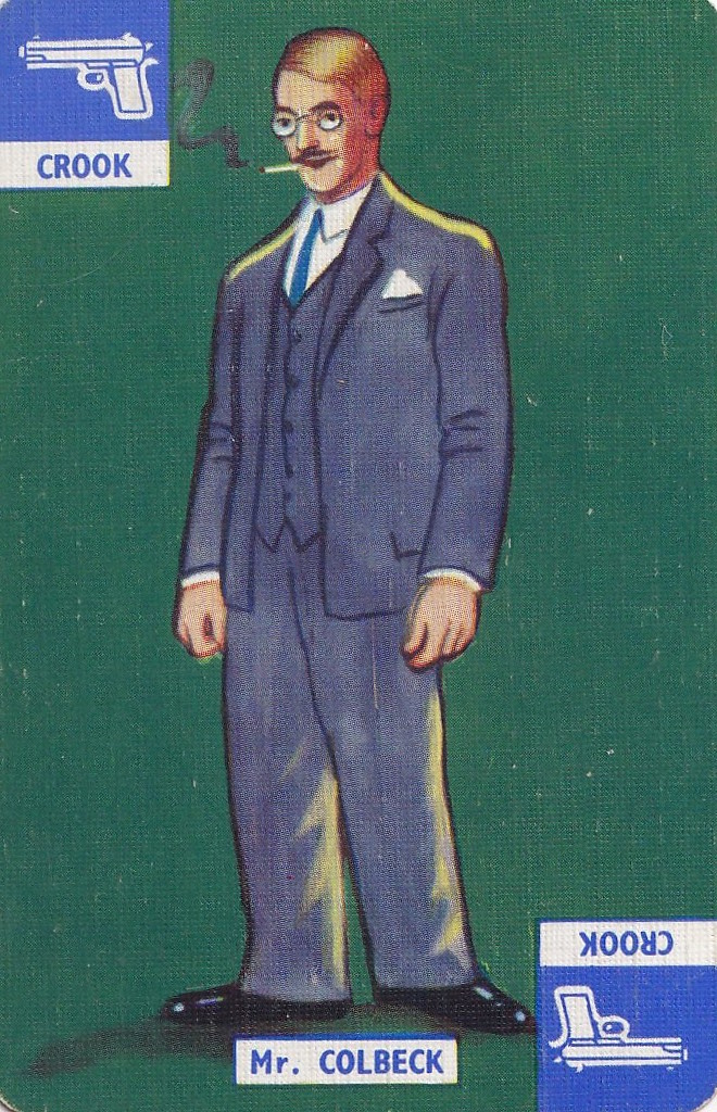 vintage playing card with illustration of Mr Colbeck, a crook