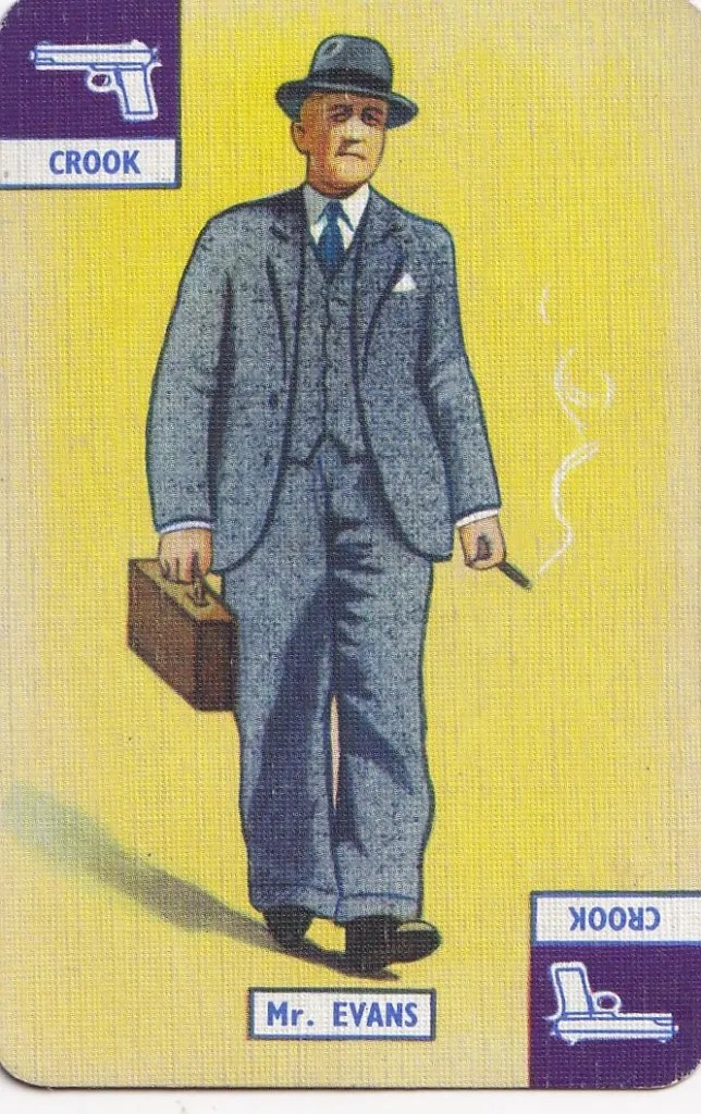 vintage playing card with illustration of Mr Evans, a crook