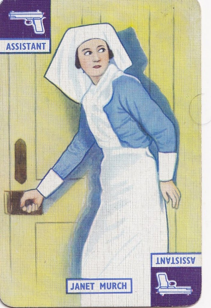 vintage playing card with drawing of a nurse acting suspiciously in the process of opening a door and glancing behind her
