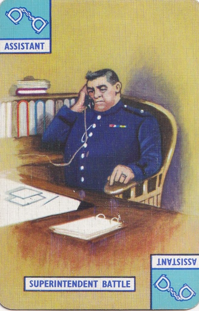playing card - drawing of Superintendent Battle
