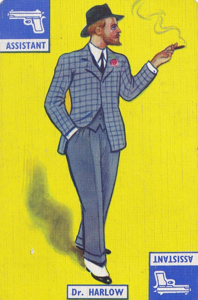 vintage playing card with drawing of Dr Harlow, man in a suit wearing a hat and smoking a cigarette, on yellow background