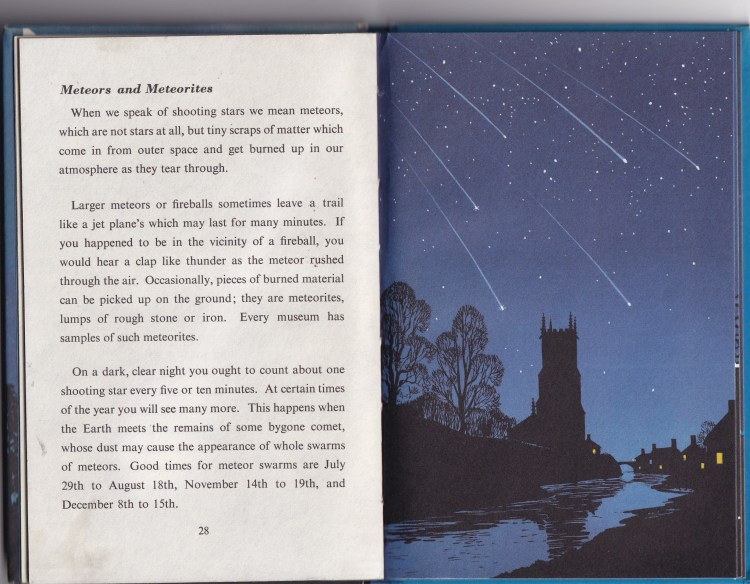 excerpt from the Nightsky (a Ladybird book). One page of text and one page of illustration of Meteorites