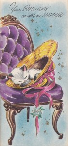 cover of vintage late birthday card - drawing of cat napping in chair