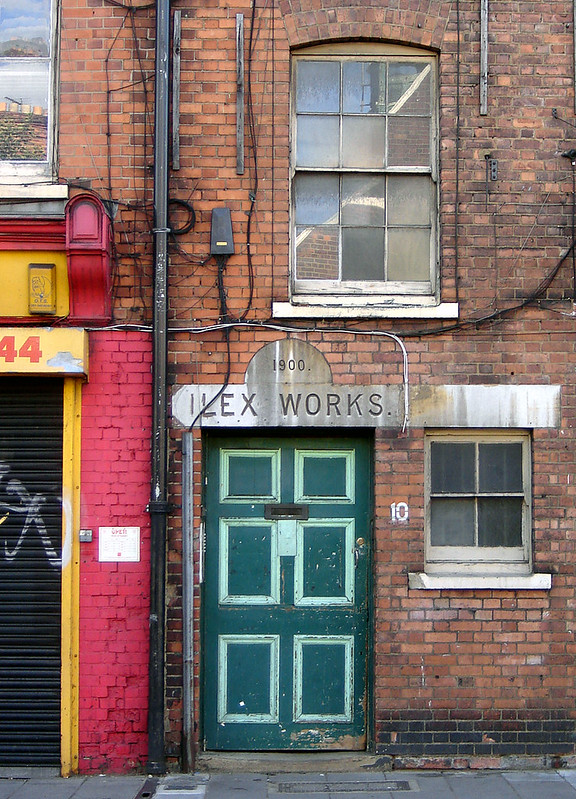 photo by Fin Fahey of entrance door to Ilex Works in Stoke Newington, London. Taken in 2009