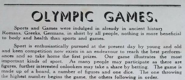 introductory text to Olympic Games board game from 1938