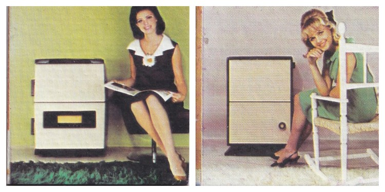 2 memory game cards, each showing a young female sitting next to a multi-fuel stove. Smiling and looking at the camera. 1960s styling