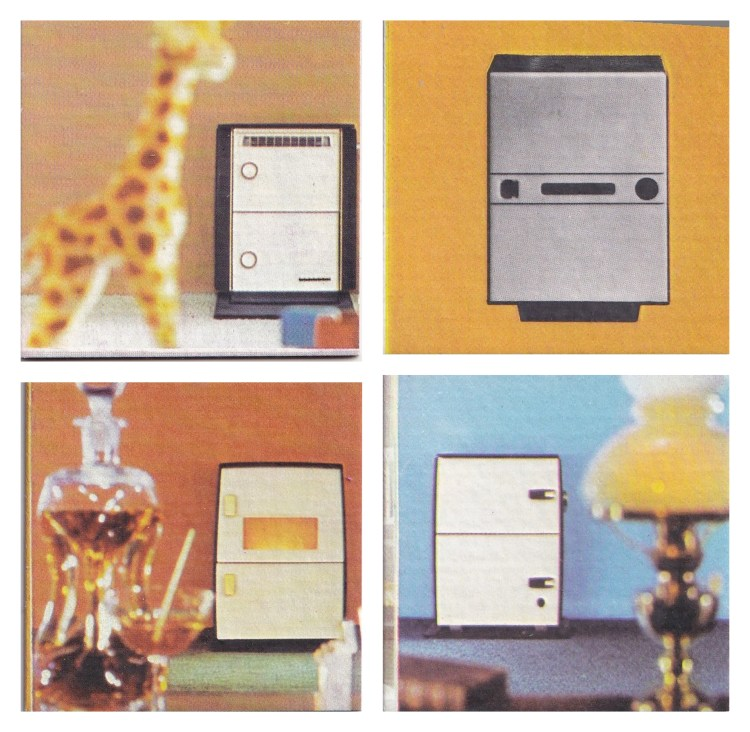 4 memory game cards, 1960s photograpy showing multi-fuel stove in back ground with blurry item in foreground