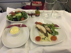 Dinner on board Ethiopian Airlines