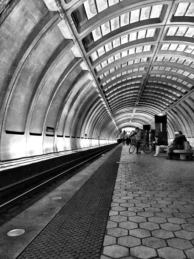 Passengers waiting for the next train at the Bethesda Metro Station