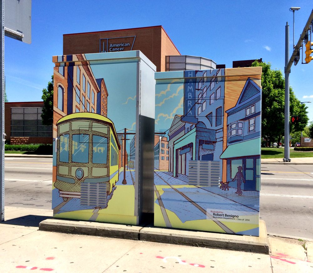 Utility boxes painted to blend in with the surrounding streets in Cleveland, OH