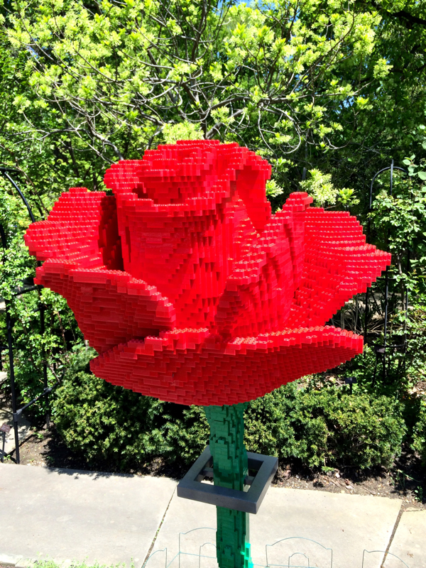 Large rose made from Lego at the Cleveland Botanical Gardens