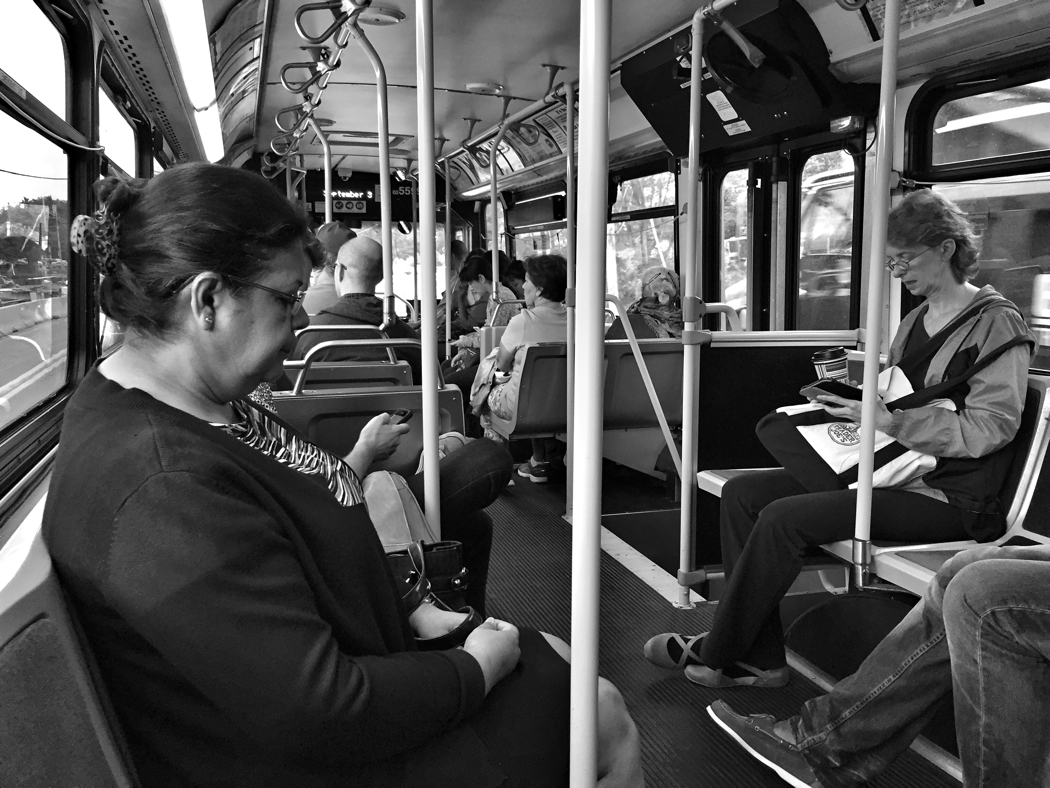Riding the #34 Ride On bus to work in Bethesda, Maryland