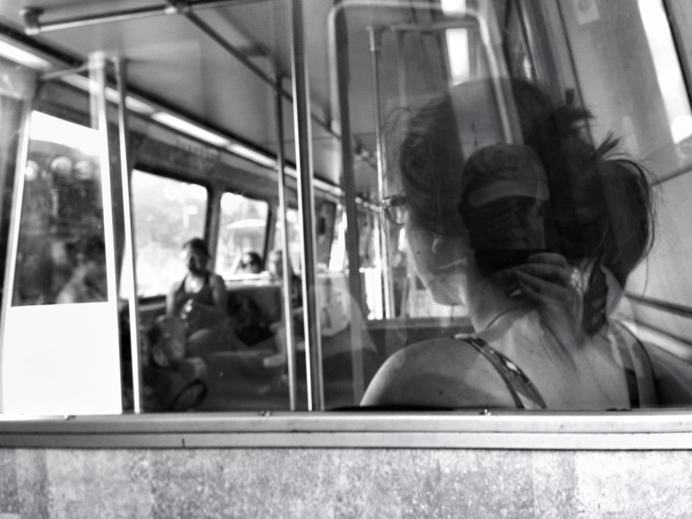Passengers on a Red Line metro train in Washington DC