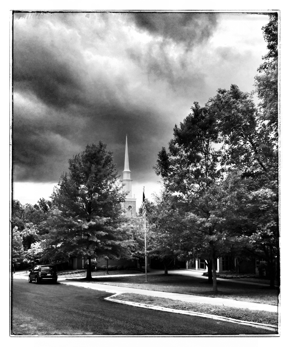 Storm clouds gathering over the LDS church in Kensington, Maryland