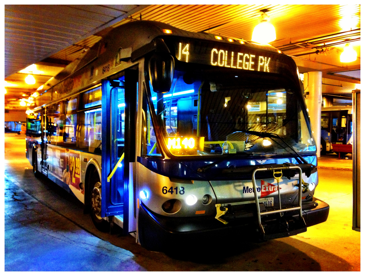 The J4 express bus from Bethesda to College Park in Maryland