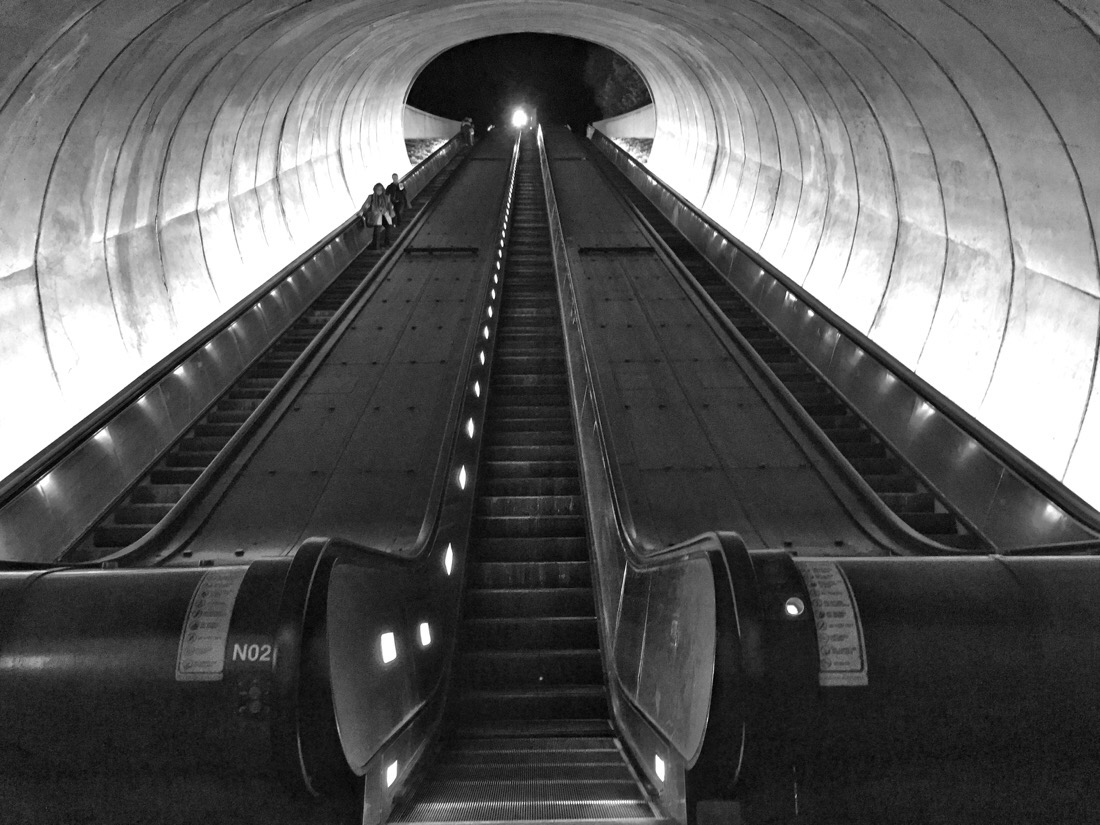 dupont circle metro station escalators in washington dc