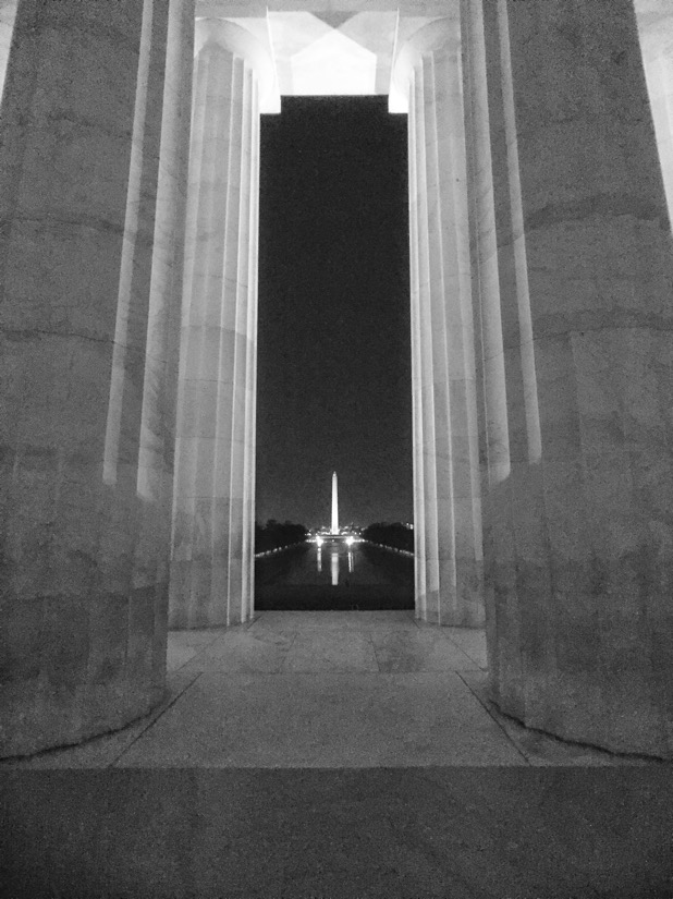 Looking towards the washington monument from the lincoln memorial in washington dc