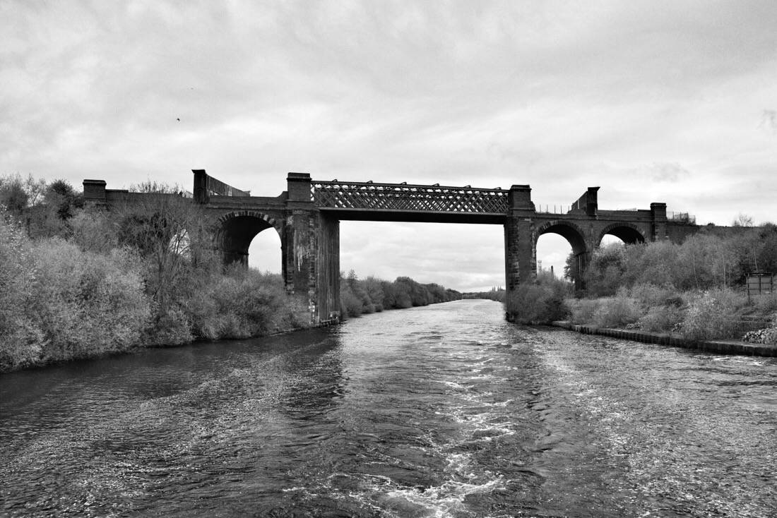 Dis-used railway bridge on the Manchester ship canal