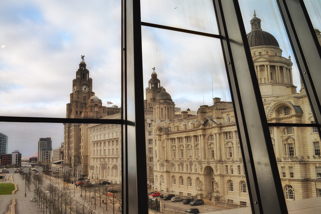 The view out of the big window towards the tree graces from the museum of Liverpool