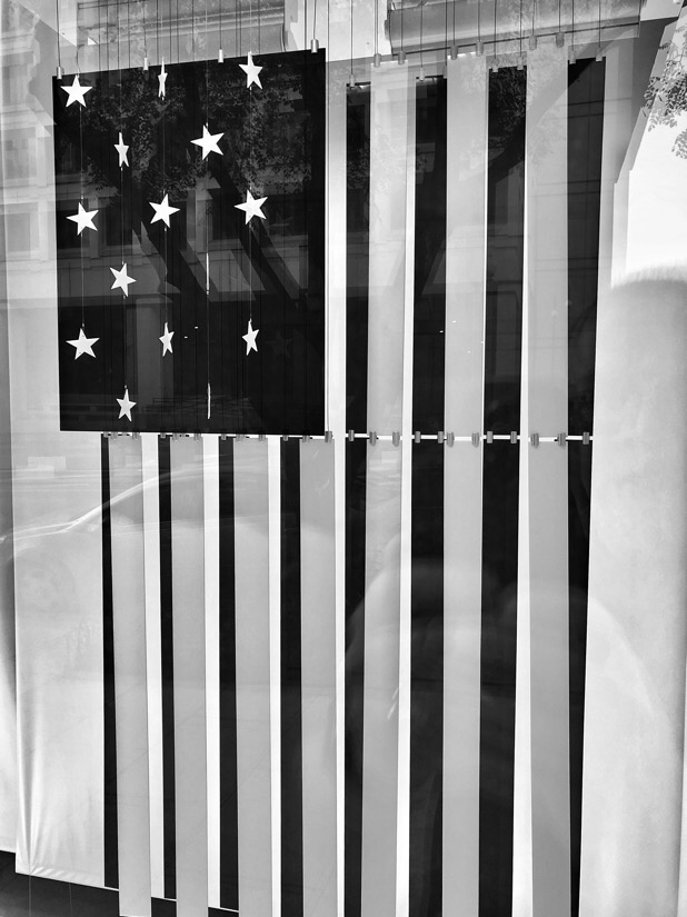 Stars and Stripes flag in a store window on E street in Washington DC