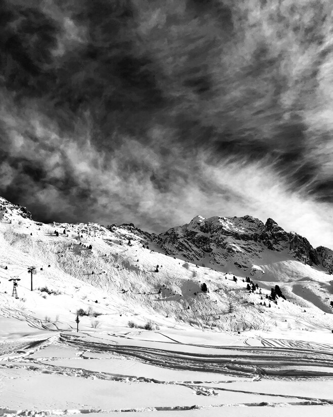 Winter mountain views in La Plagne, France