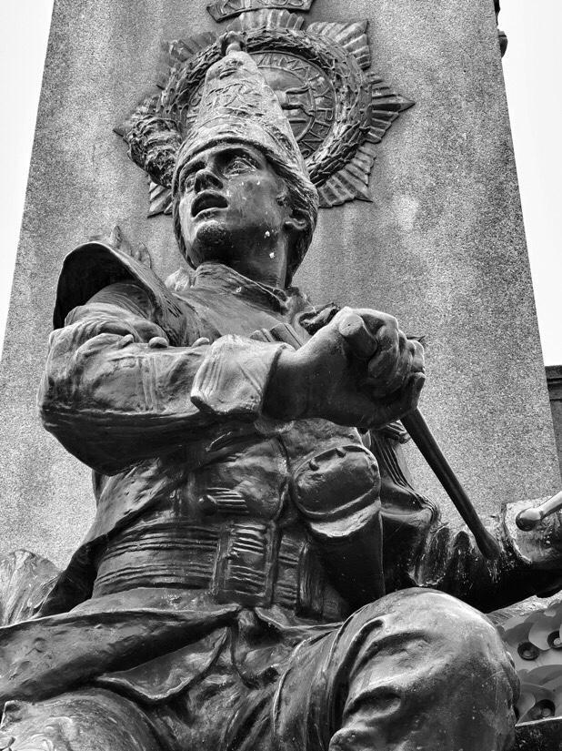 Stone figure in St. John's garden in Liverpool.