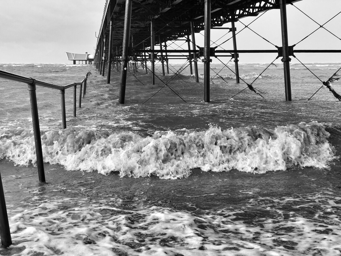 Southport Pier at high tide during storm Eleanor