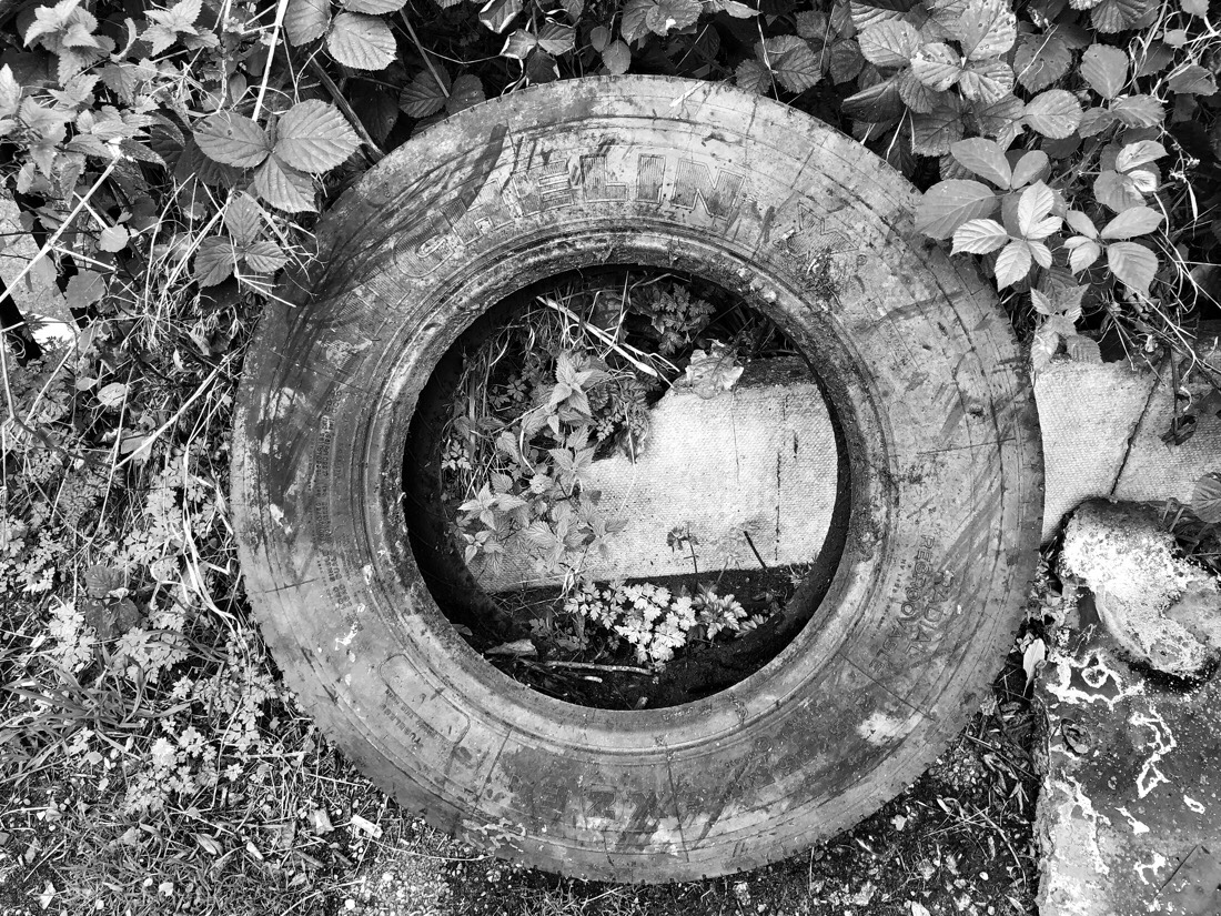 Worn out tire on the path of the Leeds Liverpool canal in Netherton, Merseyside