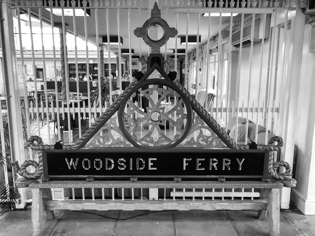 Woodside Ferry sign at the Woodside terminal for the Mersey Ferry.